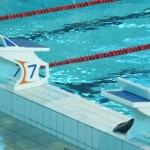 Stage natation à Dijon, bassin 50m 10 couloirs plots de départ avec plaquette FINA